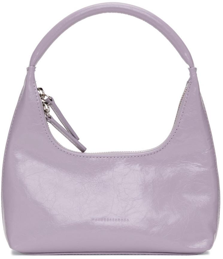 Marge Sherwood Purple Crinkled Mini Hobo Shoulder Bag in lavender