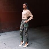 pants,cargo pants,pumps,camouflage,knitted sweater,high waisted pants