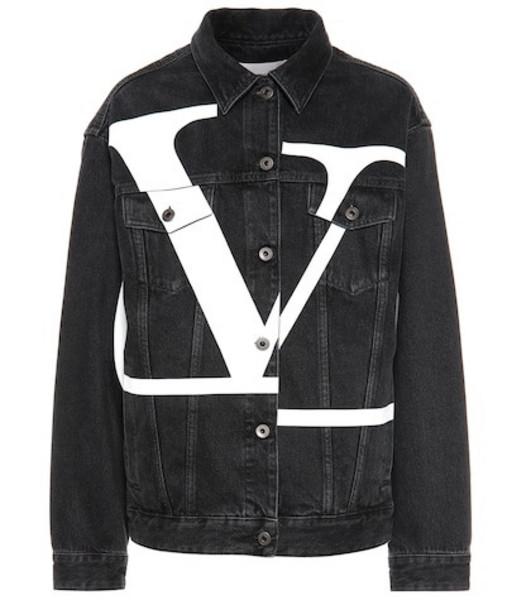 Valentino Printed denim jacket in black