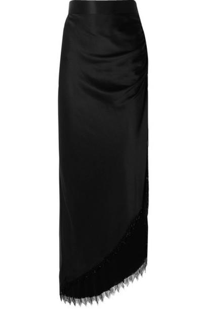 Michael Lo Sordo - Asymmetric Fringed Beaded Silk-satin Maxi Skirt - Black