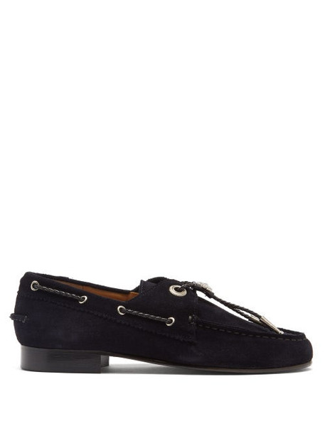 Toga - Bolo-tie Suede Loafers - Womens - Navy