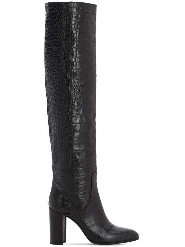 STRATEGIA 80mm Croc Embossed Over The Knee Boots in black