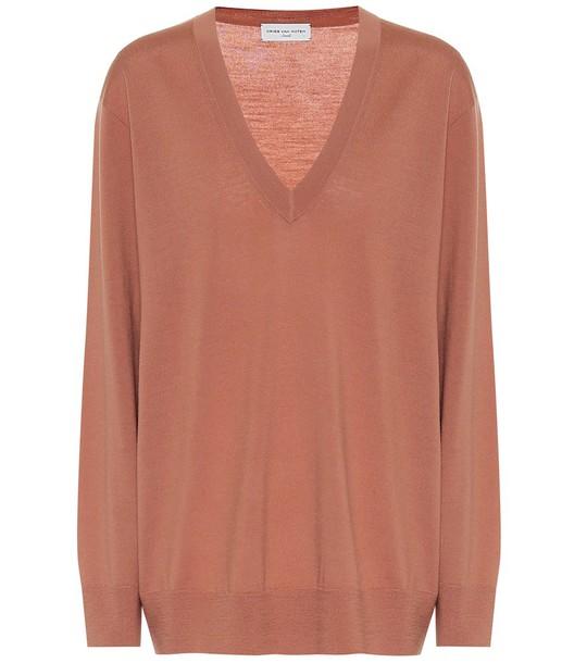 Dries Van Noten Merino wool V-neck sweater in pink