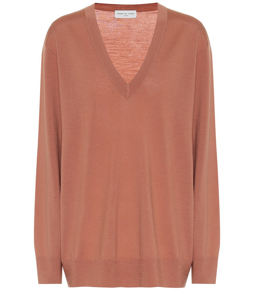 Dries Van Noten Merino wool V-neck sweater in pink