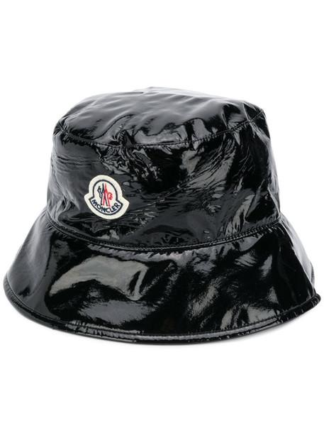 Moncler varnished bucket hat in black