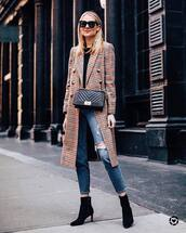 coat,long coat,plaid,double breasted,ankle boots,black boots,straight jeans,ripped jeans,black bag,black sweater,black sunglasses