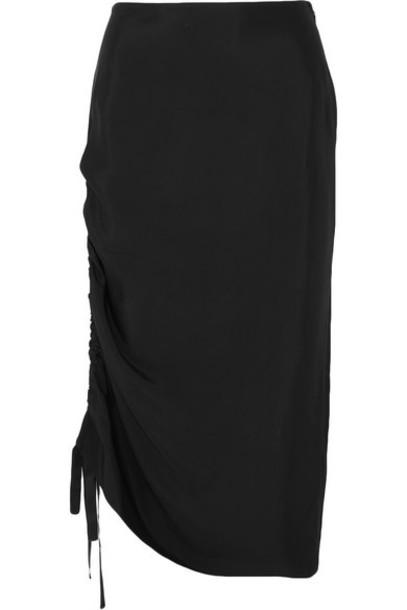 By Malene Birger - Cisco Ruched Satin Midi Skirt - Black