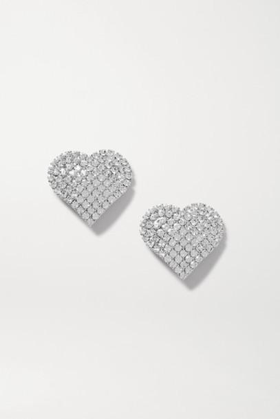 Alessandra Rich - Silver-tone Crystal Clip Earrings