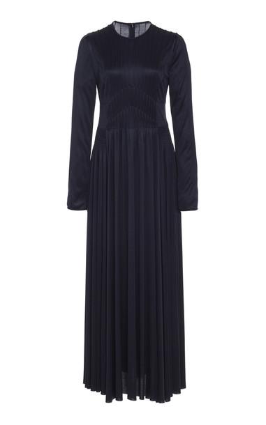 Gabriela Hearst Hermina Smocked Silk Midi Dress in navy