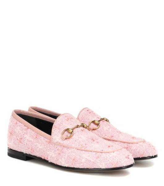 Gucci Jordaan tweed loafers in pink