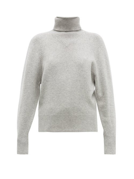 Joseph - Ribbed Roll Neck Wool Blend Sweater - Womens - Grey