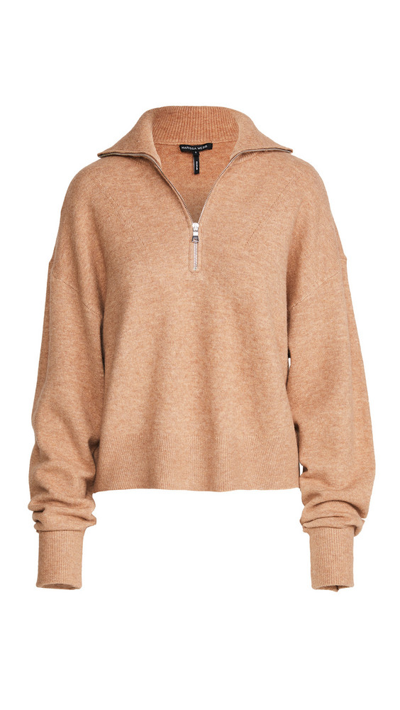 Marissa Webb Wesley Boyfriend Fit Zip Front Sweater in camel