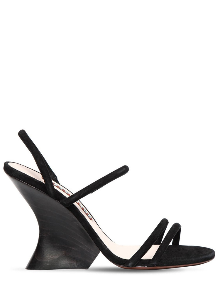 ALEXA CHUNG 100mm Perfect Suede Wedges in black
