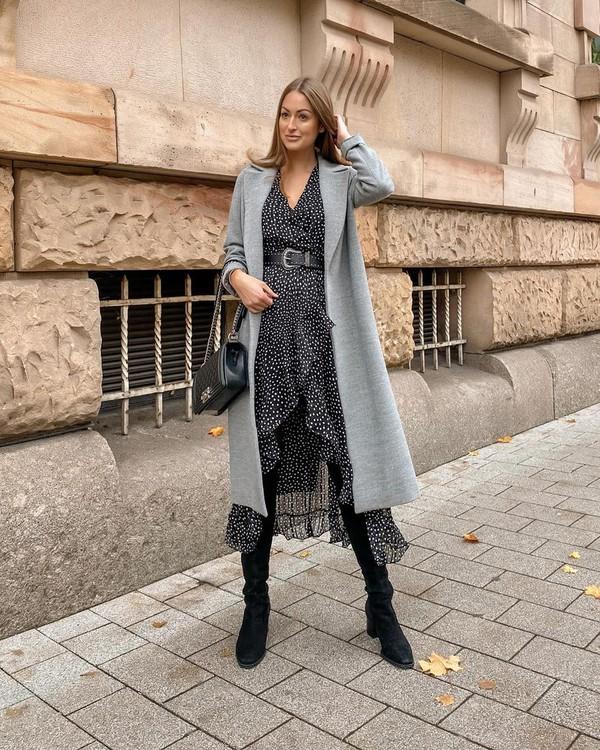 dress wrap dress ruffle dress black dress midi dress knee high boots black boots cardigan black bag