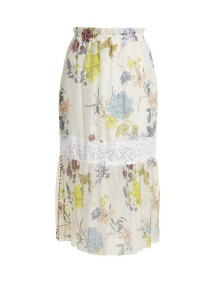 See By Chloé See By Chloé - Floral Paper Bag Midi Skirt - Womens - White Multi