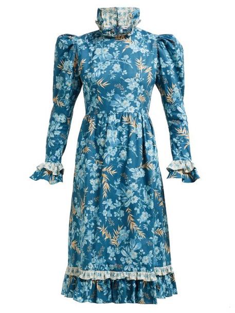 Batsheva - Ruffled Floral Print Cotton Dress - Womens - Blue Multi