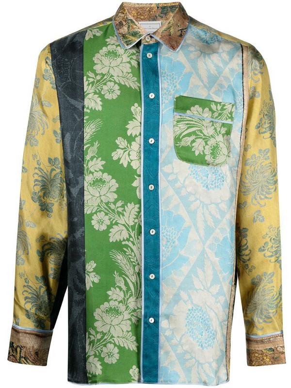 Pierre-Louis Mascia Aloe patchwork print silk shirt in blue