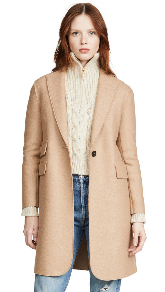 Harris Wharf London Single Breasted Coat in tan