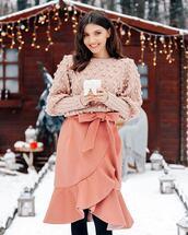 sweater,knitted sweater,pink sweater,wrap skirt,pink skirt,midi skirt