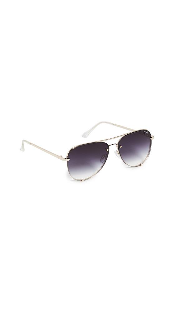 Quay High Key Mini Rimless Sunglasses in gold