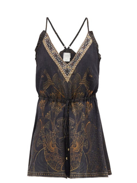 Camilla - Hieroglyph-print V-neck Silk Playsuit - Womens - Black Print
