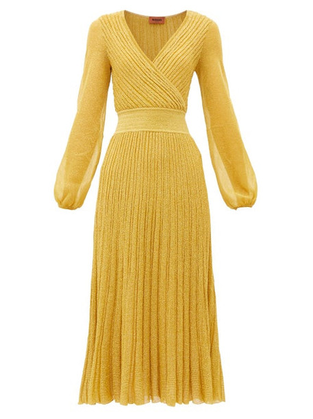 Missoni - V-neck Balloon-sleeve Ribbed-knit Dress - Womens - Gold