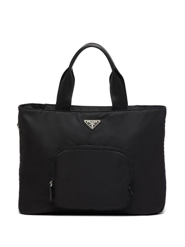 Prada logo plaque tote bag in black