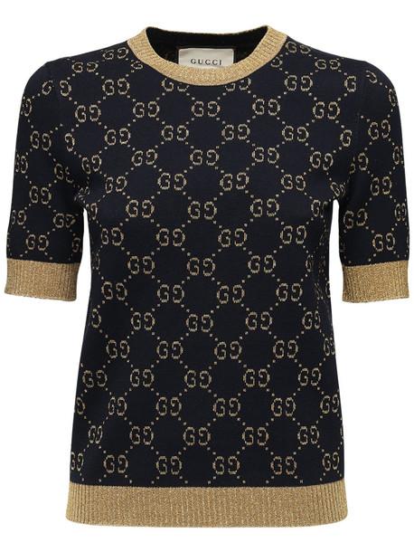 GUCCI Gg Supreme Lurex & Cotton Knit Sweater in blue / gold