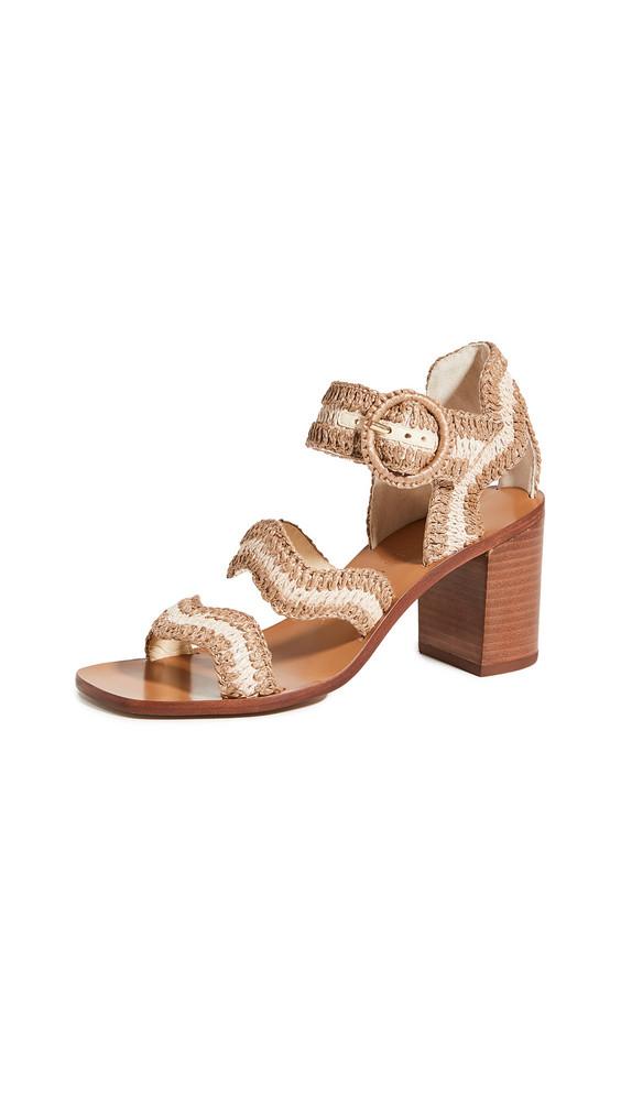 Zimmermann Wavy Raffia Sandals in natural / tan