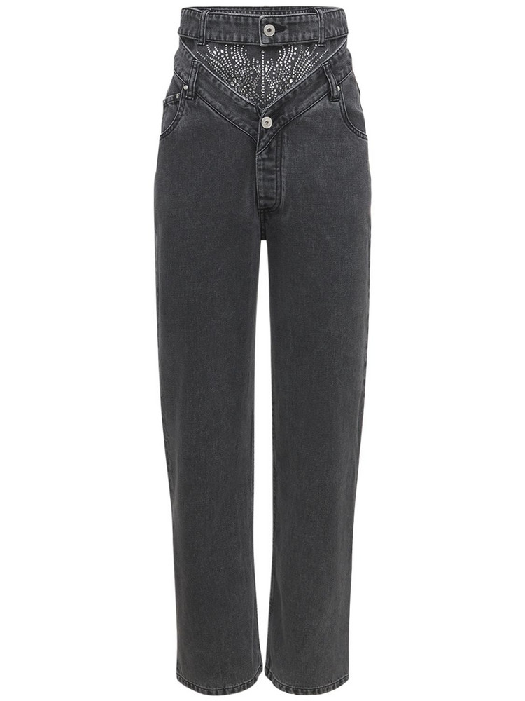 Y PROJECT Embellished Cotton Denim Jeans in grey