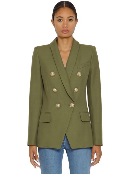 BALMAIN Grain De Poudre Double Breasted Jacket in green