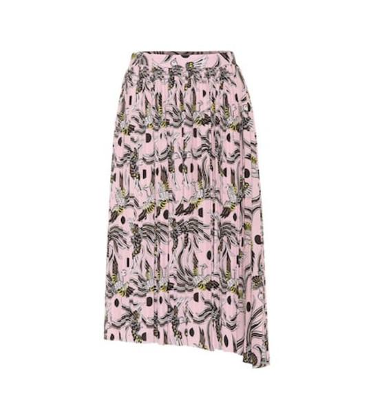 Kenzo Printed asymmetric midi skirt in pink