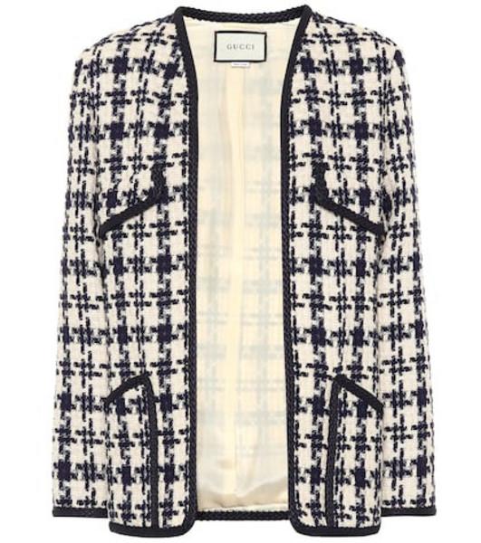 Gucci Houndstooth tweed wool-blend jacket in beige