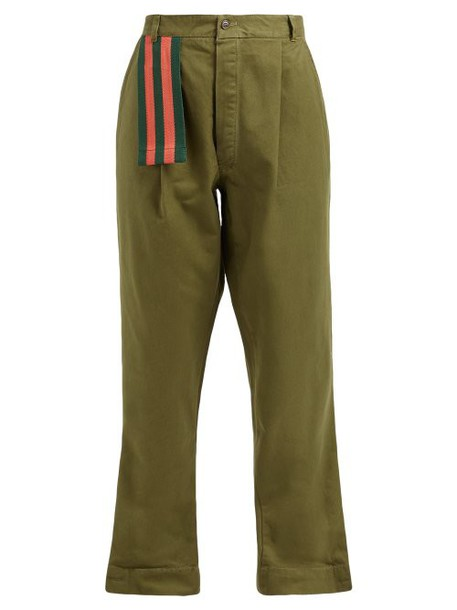 Myar - Itp00 Cotton Twill Relaxed Leg Trousers - Womens - Green