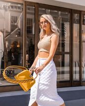 bag,yellow bag,fendi,white skirt,midi skirt,crop tops