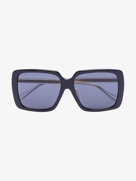 Gucci Eyewear black crystal square tinted sunglasses