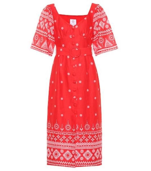 Gül Hürgel Printed linen midi dress in red