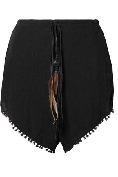 Caravana - Tizimin Leather And Feather-trimmed Fringed Cotton-gauze Shorts - Black