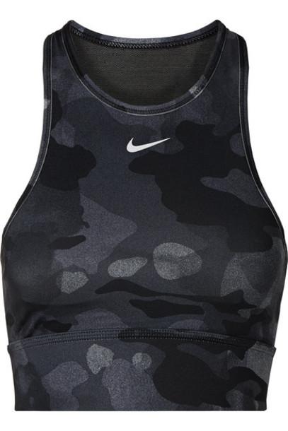 Nike - Everything Mesh-paneled Camouflage-print Dri-fit Sports Bra - Black