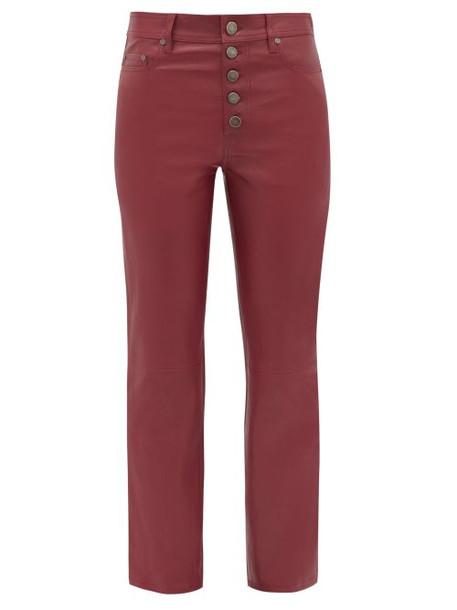 Joseph - Den Straight Leg Leather Trousers - Womens - Dark Red