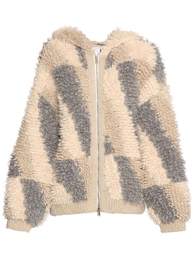 STELLA MCCARTNEY Alpaca Blend Knit Zip-up Hoodie in grey / beige