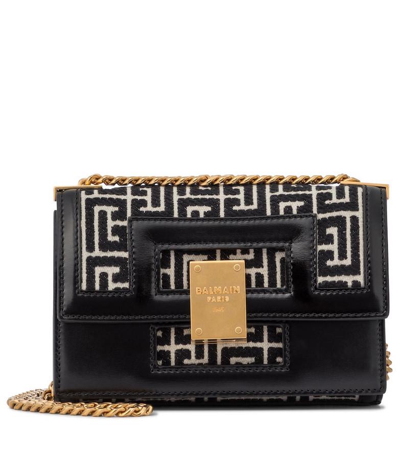 Balmain 1945 Small jacquard shoulder bag in black