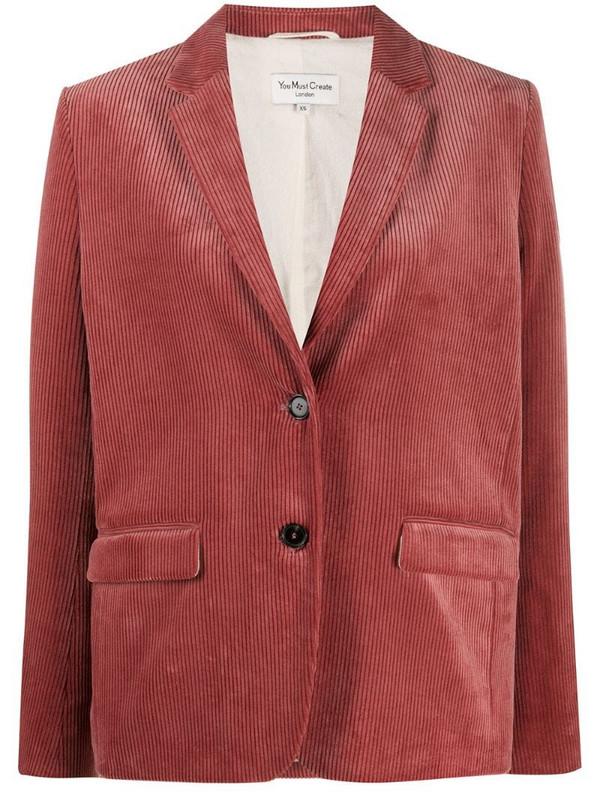 YMC single breasted corduroy blazer in pink