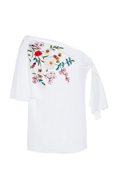 Carolina Herrera Off-The-Shoulder Embroidered Cotton-Blend Blouse Size in white