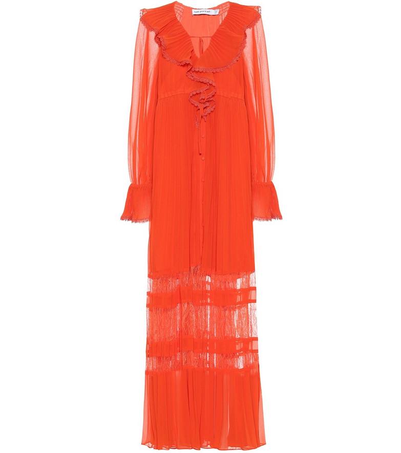 Self-Portrait Ruffled chiffon maxi dress in orange