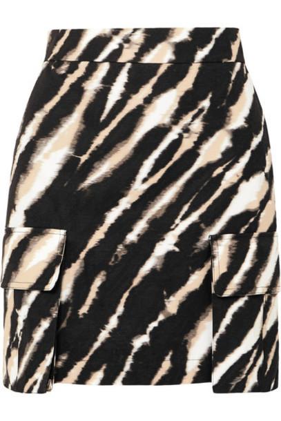 House of Holland - Zebra-print Cotton-canvas Mini Skirt - Black