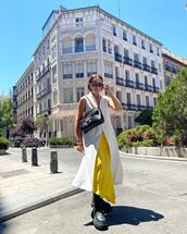 skirt,midi skirt,yellow skirt,black boots,white dress,blazer dress,black bag,gucci bag