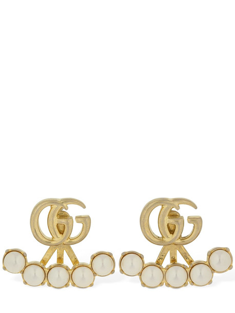 GUCCI Gg Marmont Imitation Pearl Earrings in gold / white