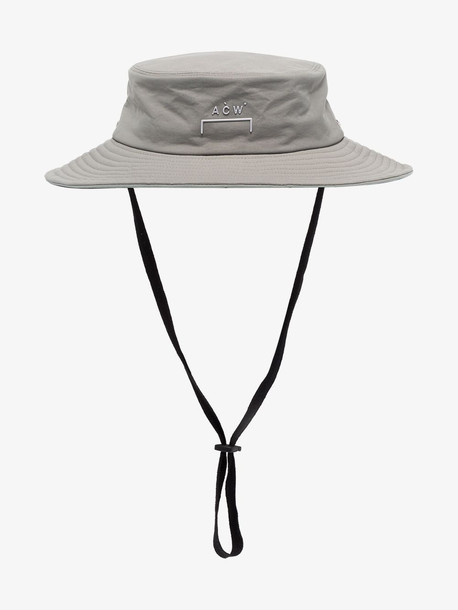 A-Cold-Wall* grey wide brim logo print bucket hat