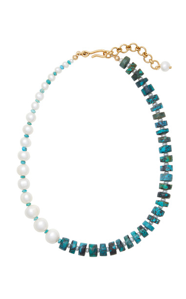 Brinker & Eliza Freshwater Pearl and Turquoise Dolly Necklace in blue